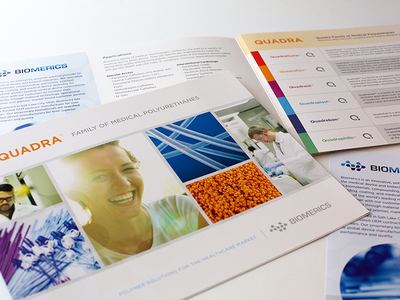 Biomerics Quadra Line Brochure photography graphic design printed materials branding