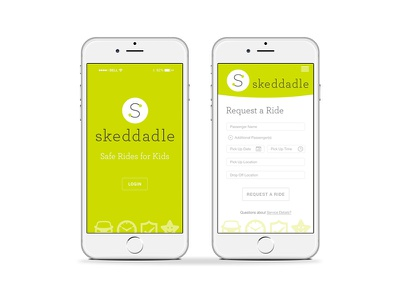 Skedaddle Ride Service for Kids visual identity slogans and tag lines signage printed material vehicle design concepting brand strategy ui design