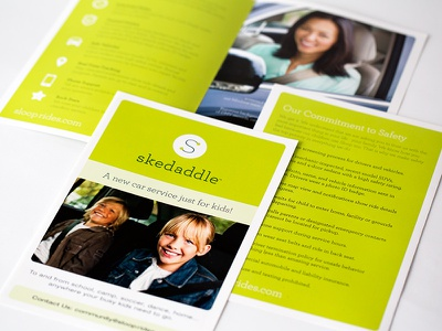 Skedaddle Brochure visual identity slogans and tag lines signage printed material vehicle design concepting brand strategy ui design