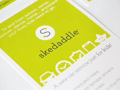 Skedaddle Flyer visual identity slogans and tag lines signage printed material vehicle design concepting brand strategy ui design