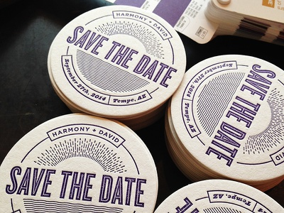 Save the Date Coaster Printed letterpress coaster save the date wedding invitation