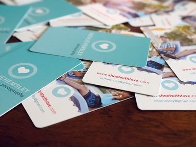 Business Cards for my wife - Natalie Hemsley Photography business cards bcards photography heart teal pink cute girly