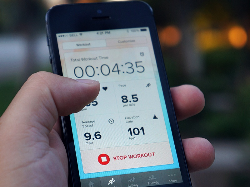 Kreyos Sports Mode iphone app mobile ios7 sports workout data tracking