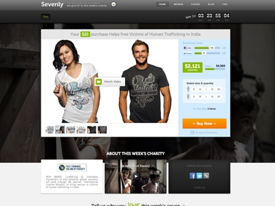 New Sevenly.org Redesign hoempage sevenly shirts charity ecommerce tees