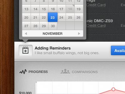 Kept UI - Calendar Dates / Chart Intro ui interface gray blue calendar dates chart