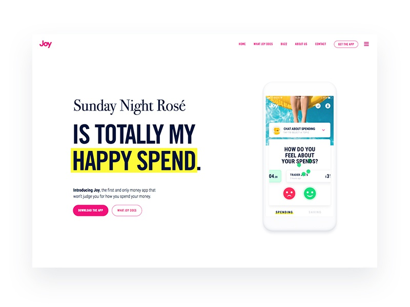 The Website Launch of Joy white minimal clean site app store ios happiness money finance app landing page website