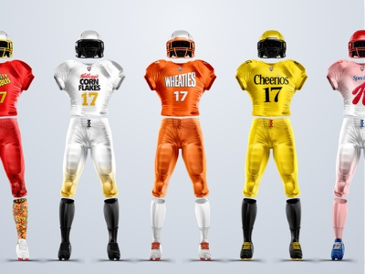 Cereal Brands + Football conceptual breakfast cereal sports branding football jersey uniform concept
