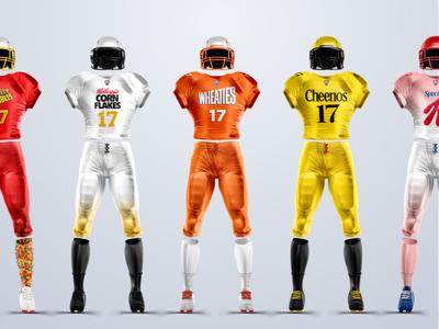 Cereal Brands + Football conceptual breakfast cereal sports branding football jersey uniform concept