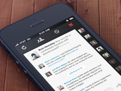 Convo View in iPhone App iphone app conversation thread people avatars post comments