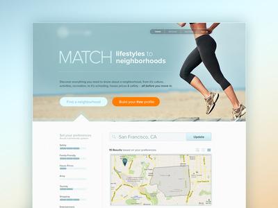 "Homepage ""MATCH"" homepage runner lifestyle neighborhoods blue orange tan map filter web"
