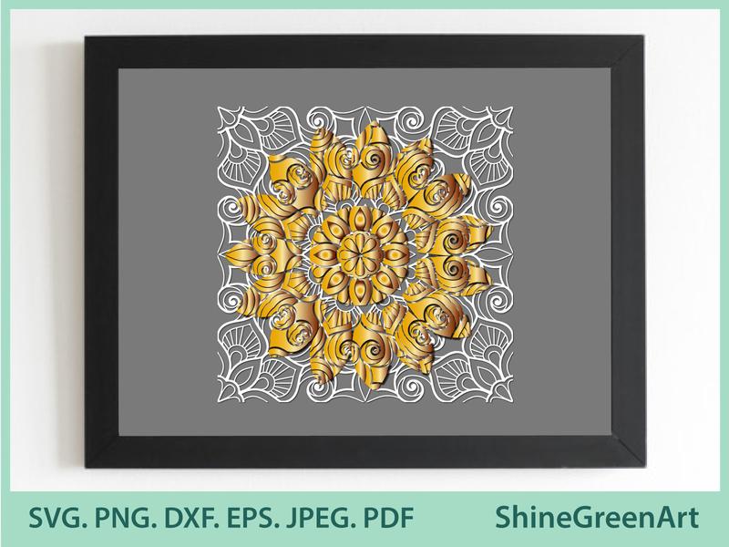 3D Sunflower Mandala - Shine Green Art graphic design shirt design illustration art designer portfolio vector illustration illustration