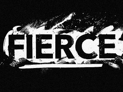 Fierce women fierce series wordmark black and white ink brush organic grunge logotype typography