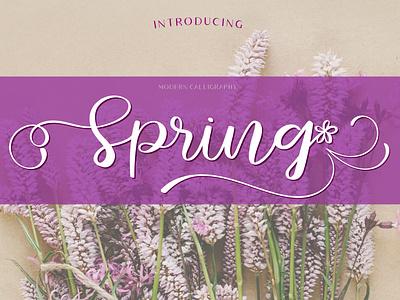 Spring font calligraphy logo wedding invite calligraphy romantic sweet casual handwritten font font design