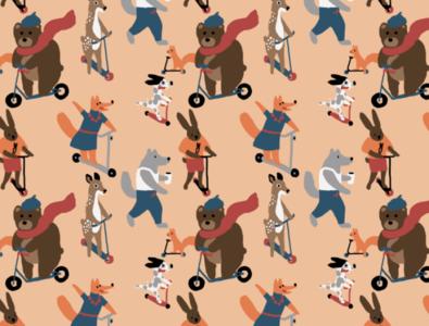 Pattern for children clothes kick scooter walking around autumn print animals digital illustration childrens illustration pattern
