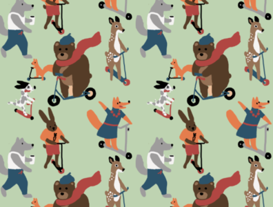 Pattern for children clothes spring digitalart kick scooter illustration clothing children animals pattern