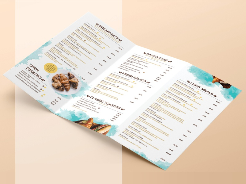Bread Basket Summer Menu branding design watercolour typography summer menu summer restaurant braning restaurant print menu design menu card menu mediterranean layout design design