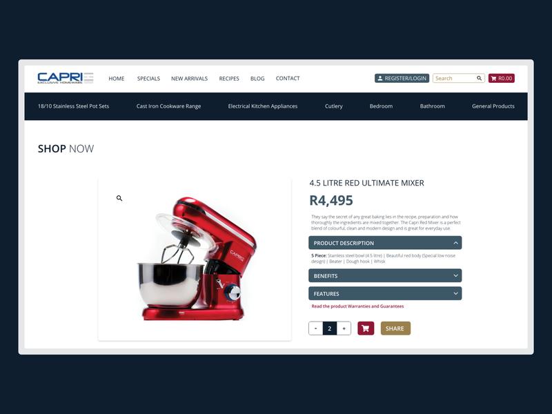 Capri Homeware - Product Page mixer product product page shop page shop digital branding website design interactive design web design homeware website homeware branding ui dark mode branding design design