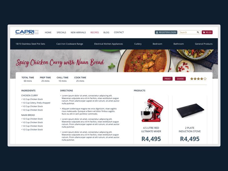 Capri Homeware - Recipe ux ui blog recipe web page recipe design kitchen homeware website design web design innovation branding design design