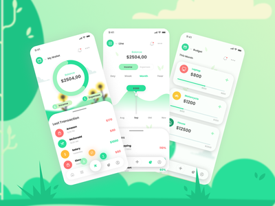 Money Manager Application green management app mobile app mobile finance business financial app financial manager managment finance app money app money finance design indonesia designer indonesia ui figma app design app