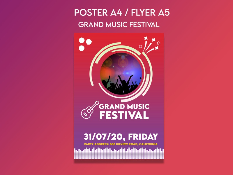 Music Festival Postcard Flyer Template advertising flyer template multipurpose advertising design template post card flyer music festival poster festival poster poster design festival music advertising icon illustration design