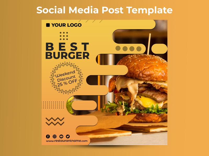 Best Burger Weekend Offer Social Media Post Template restaurant branding social media templates poster design festival poster festival advertising flyer advertising design advertising