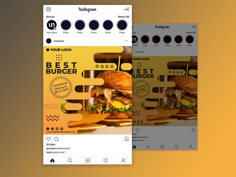 Best Burger in the Town - Instagram Post Design facebook post facebook instagram post social media poster design festival poster advertising flyer advertising design advertising