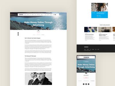 Comish Theme | Article Page social article theme web design interface ui ux