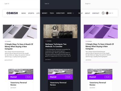 Comish Theme | Different UI Themes icon navbar interface typography button card theme ui ux