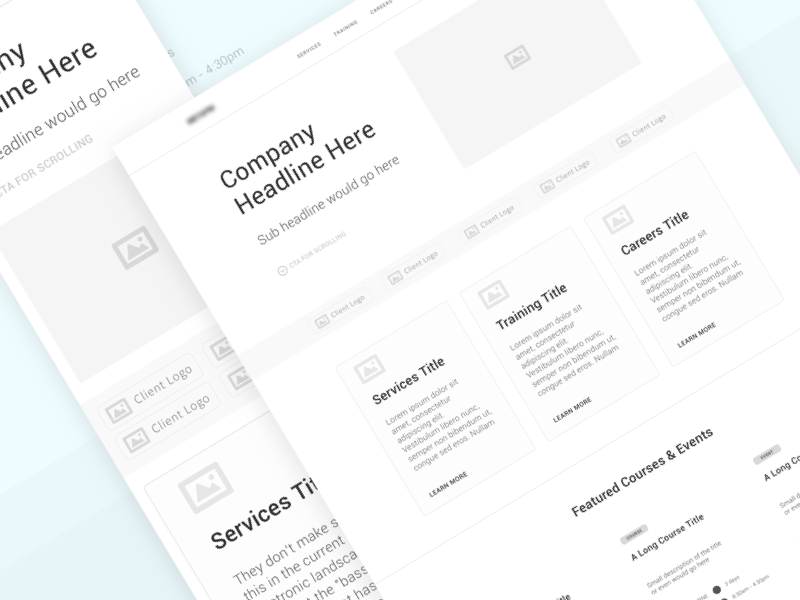 Project Management Consultancy | Landing Page UX Wireframe design process pm layout structure project management wireframe ux