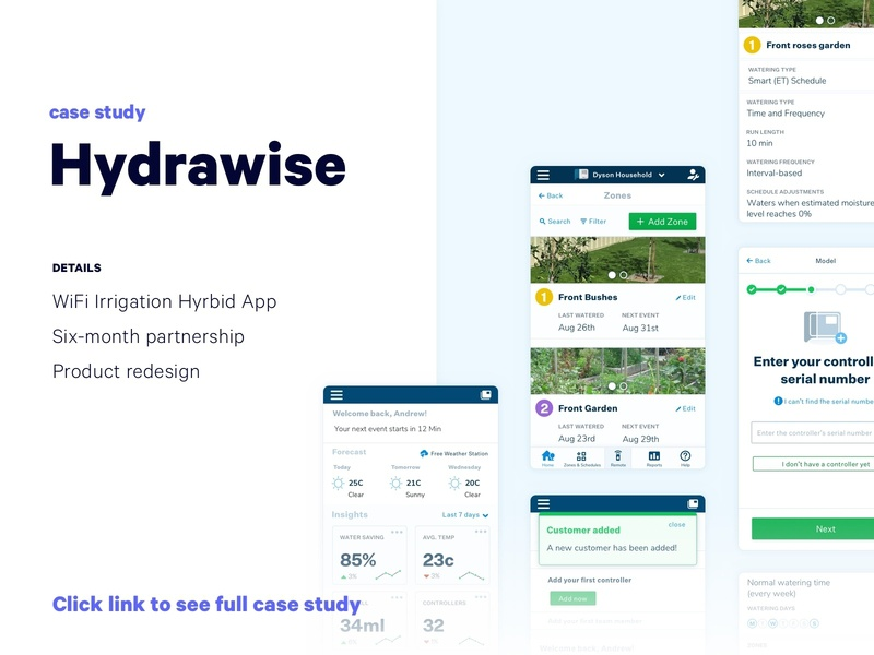 Hydrawise Case Study | UX UI Product Design Mobile Web App web onboarding icons irrigation hardware sprinkler interface mobile ui dashboard ui dashboard web app mobile app mobile product design redesign ui ux hybrid app