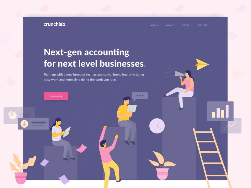 Crunchlab Landing Page ux business software accounting saas landing page illustration interface web design ui