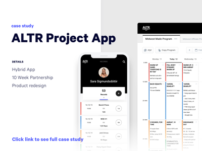 ALTR Project Hybrid App | Case Study dashboard fitness gym web app product design ios ux ui android app ios app mobile app mobile casestudy app