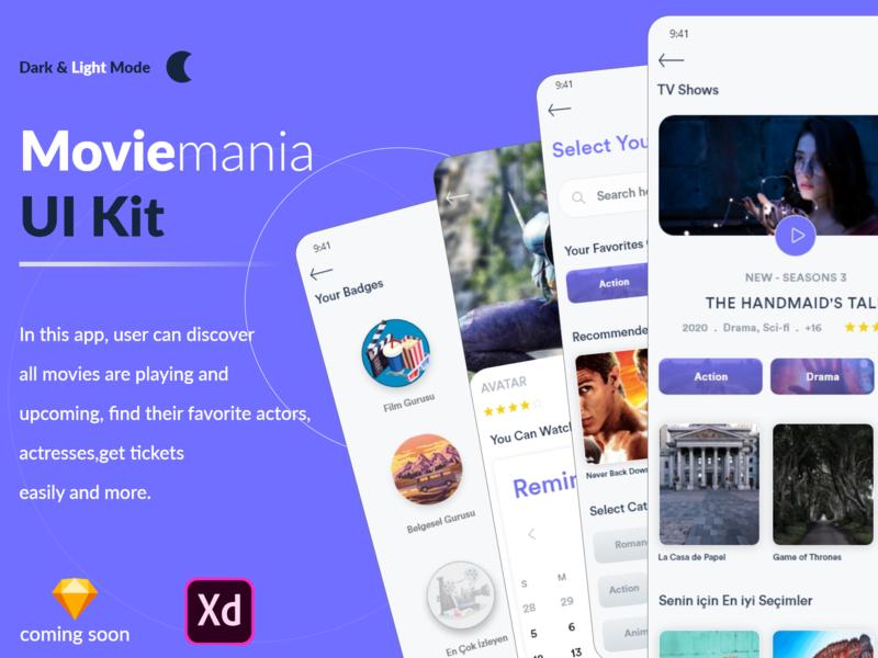 Moviemania App UI Kit ui templates dark assets adobe xd photoshop sketch icons app design ios design ux design designers design ui kit ui kits