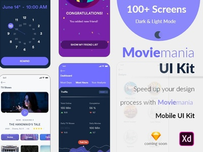 Moviemania App UI Kit assets adobe xd photoshop sketch icons app design ios design ux design designers design ui kit ui kits