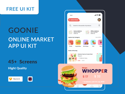 Goonie Online Market - Free UI Kit Sketch & Adobe XD delivery ux uiux uı mobile ecommerce shopping market online application virtual