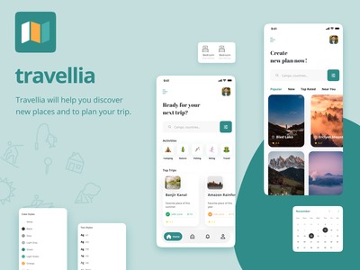 Travellia - Travel Destination Search UI Kit ui designs travelapp booking travel illustrations ios creative ux design booking app app