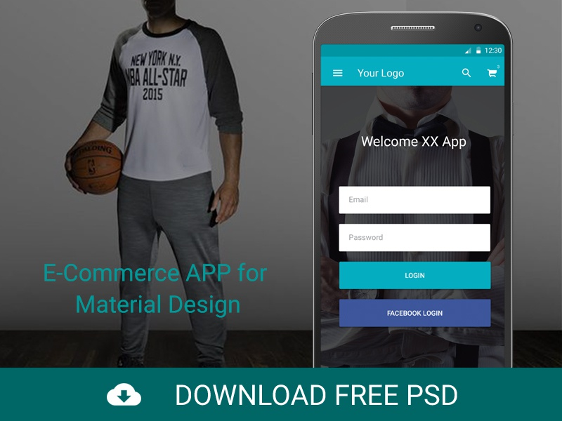 FREEBIE PSD: E-Commerce APP for Material Design android mobile design google dribbble ui ux mobile ui mobile app material design landing e-commerce