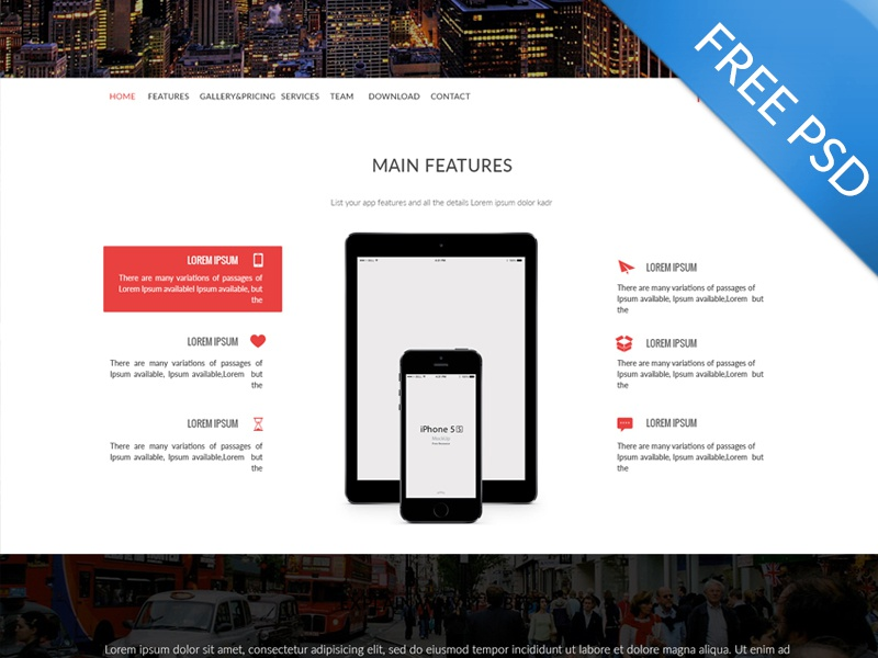 Multi-Purpose Landing Page - Freebie Psd blog clean display landing page marketing modern multipurpose onepage parallax portfolio red sliders