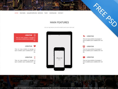 Multi-Purpose Landing Page - Freebie Psd blog clean display landing page marketing modern multipurpose onepage parallax portfolio red sliders