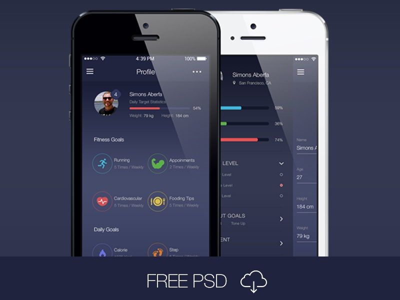 Free PSD: Fitness App Ui Kit free psd login iphone ios8 kit design sports ui ardiovascular app fitness