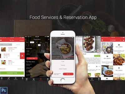 Food Services & Reservation App wireframe sketch white strada restaurant black design site food app ux ui