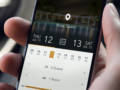 Booking App Ui convention weather events page calendar mobile interaction design light theme minimal clean app web ux ui