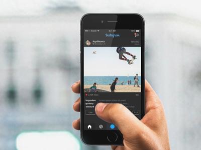 Instagram Re-Design (dark) mobile discovery cards app flat ui instagram redesign ux web dark black