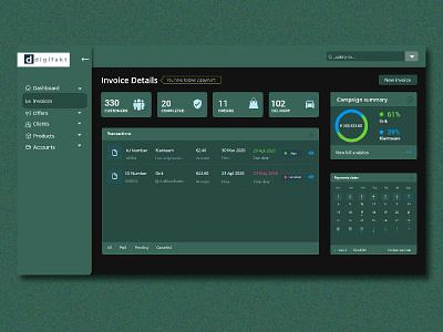 Dashboard website flat digital invoice webdesign dashboard minimal design web ui