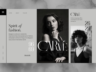 Fashion Web design- Carve web banner hero banner black and white clothing brand fashion design web design design company fresh design minimal website branding web webdesign ui