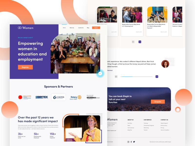 SevenWomen Website Redesign nonprofit landing page design home page webdesign ux design