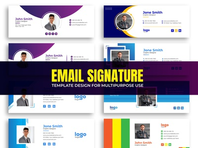 Email Signature Template Design For Multipurpose Use. interface layout mail electronic media personal cover cover modern electronic mail