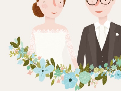 Custom wedding illustration by Marloes De Vries | Dribbble | Dribbble