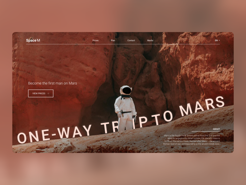 One-way trip to Mars web design ux ui web design