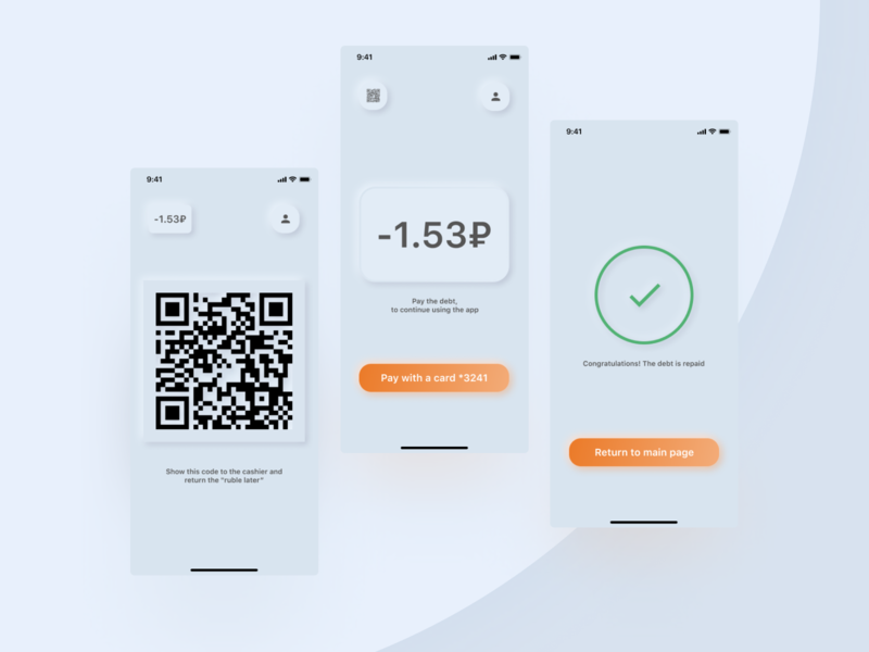 Nanodebt app for shops neomorphism minimal app ui ux design